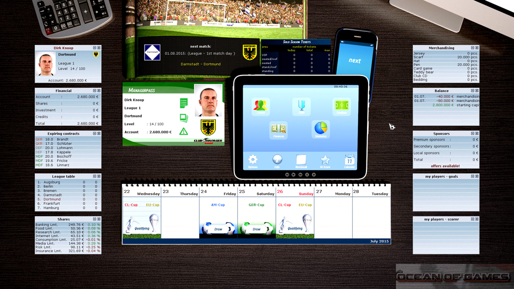 Club Manager 2016 Features